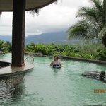 The pool bar with a volcano view