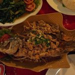 Dry overcooked whole fish, served with tomato sauce. Really?