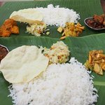 Dinner on banana leaves