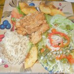 Pollo Frito served with Bread Fruit and Coconut Rice and Salad