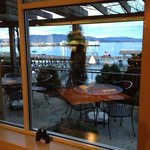 view from the restaurant by the bay. binoculars are available to use