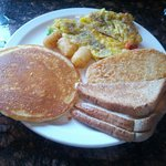 Pancakes, eggs, tater tots and toast