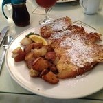 Coconut French toast with home fries and onion