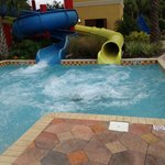 The slides-the blue one is the slower one and the yellow one is the super fast one