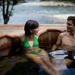 Wood-fired hot tub aside El Tigre river