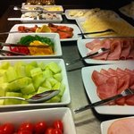 cold meats selection at breakfast