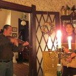 Steve and Karen playing music during our first candlelight dinner!