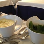 Side dishes at Auberge du Lyonnais - those mashed potatoes on the left were heavenly