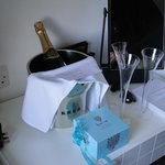  Our champagne and chocs arranged by the owners