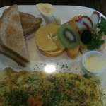 western Omlette with fruit