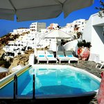  Kima Villa Pool with view of Oia. Our room is to the right of this photo.