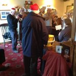  the Reeth brass band playing in the Bridge Inn on Christmas day.