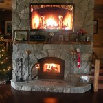 """Yule Log"" on tv on fireplace, lol"