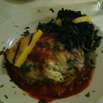 Melanzana (eggplant) with smoked mozzarella, greens and polenta