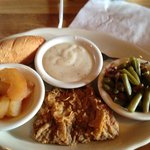 Apples, country fried steak with gravy, and green beans
