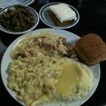 Turkey, Dressing, Noodles, Mashed Potatoes, Green Beans and Pumpkin Cake