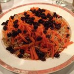 Quabili pallaw (lamb with carrots and raisins)