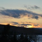 View from rear of Loon Lodge - sunset over Rangeley Lake.