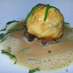 Sea Scallop En Croute with Red Wine Braised Oxtail in Truffle Emulsion