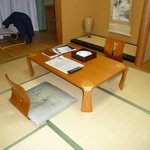 Table and chairs on tatami area