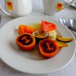 fruits and tea at breakfast