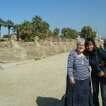 With Heba in front of the line of sphinxes