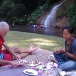 Lunch by the waterfall at Phu Sang