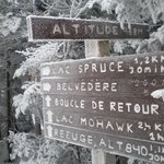 The direction sign at the summit