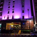 Frontal view of the hotel - a night shot