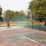 Playing badminton