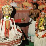  Kathakali Show Munnar. Chandi (female Demon) in the form of beautiful woman trying to seduce Vis