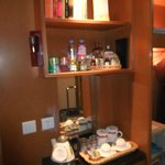mini bar and book in room to read
