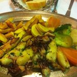  Grill Squid, Homestyle Fries, and Fresh Vegetables