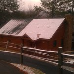  Our cabin Buttercup - Snow on the roof when we woke up.