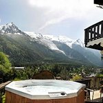 Summer View from Hot Tub of Mont Blanc and Glacier