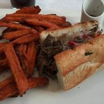  NY Strip Cheese Steak with Sweet Potato fries