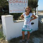 Our daugther Coralie in front of Coralli Beach!