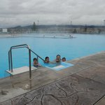 The massive outdoor pools, with the HOt Hot pool in background