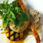  Pan seared scallops, charred nectarine, pork crackle, cider caramel