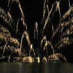 Fireworks at lake toya
