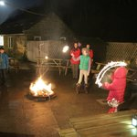New Year's Eve moon-lit Boggle firepit with sparklers!!