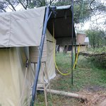  The plumbing arrangement at the back of the tent. I thought this very creative and suitably eco.