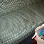  Stained sofa in the room.