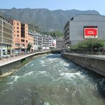River in front of Novotel Andorra