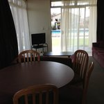 Looking into the lounge/dining area of apartment 10 from the kitchen