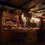  The bar, covered in festive lights
