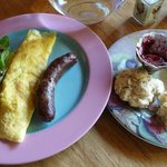  Salad from the garden, sausage from town, scones and jelly from Richard, and eggs from the ladie