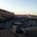 View of main square Jemaa El Fnaa from a restaurant. This is about a 5 minute walk from the riad