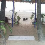 entrance to the beach from the restaurant