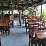  The open air dining room of the nearby Selvin&#39;s restaurant  open only at night